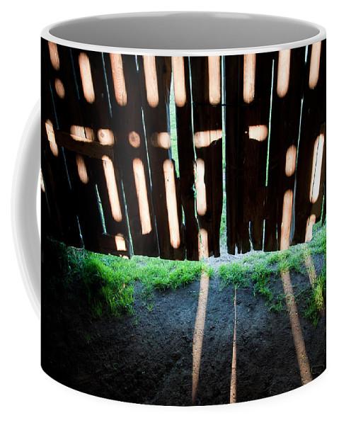 Barn Coffee Mug featuring the photograph Barn Interior Shadows by Steven Dunn
