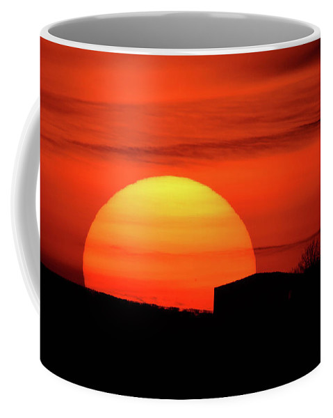 Landscape Coffee Mug featuring the photograph Barn Sunset by Ashley Jackson