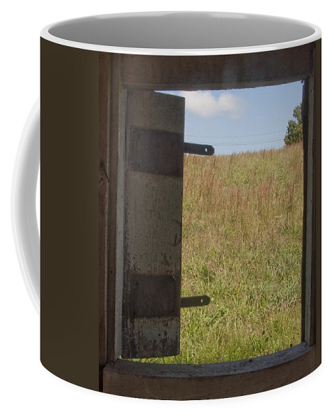 Barn Coffee Mug featuring the photograph Barn Window View by Steven Natanson