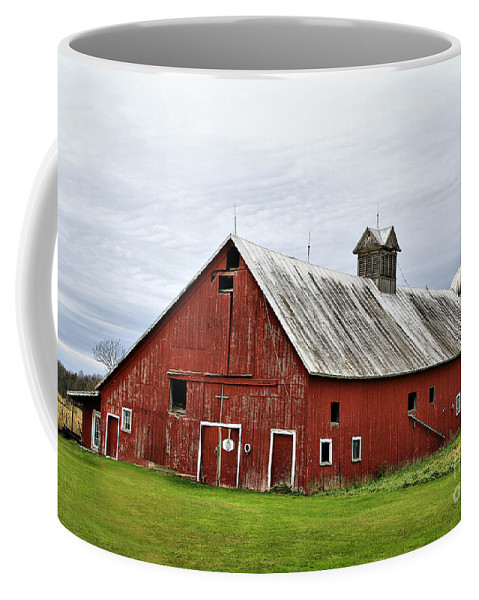 Barn Coffee Mug featuring the photograph Barn With A Cross by Deborah Benoit