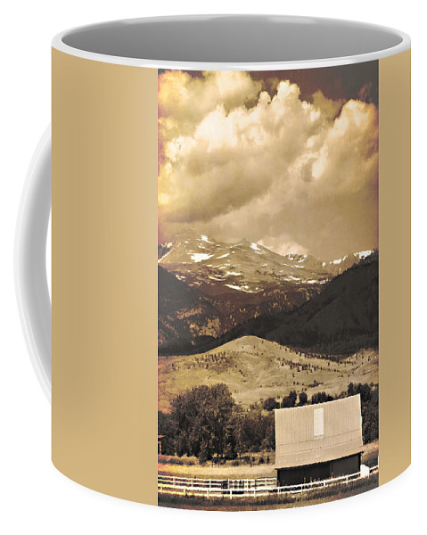 Rural Coffee Mug featuring the photograph Barn With A Rocky Mountain View In Sepia by James BO Insogna