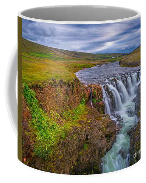Iceland Coffee Mug featuring the photograph Barnafossar Waterfalls by Izet Kapetanovic