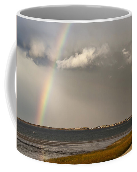 Rainbow Coffee Mug featuring the photograph Barnstable Harbor Rainbow by Charles Harden