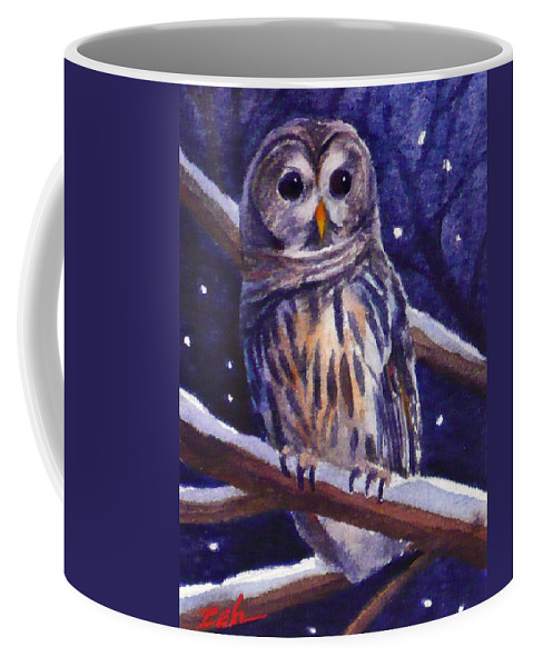 Bird Coffee Mug featuring the painting Barred Owl And Starry Sky by Janet Zeh