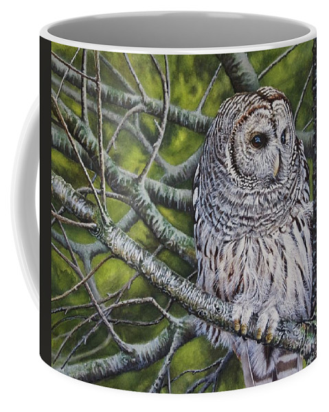 Owl Coffee Mug featuring the painting Barred Owl by Greg and Linda Halom
