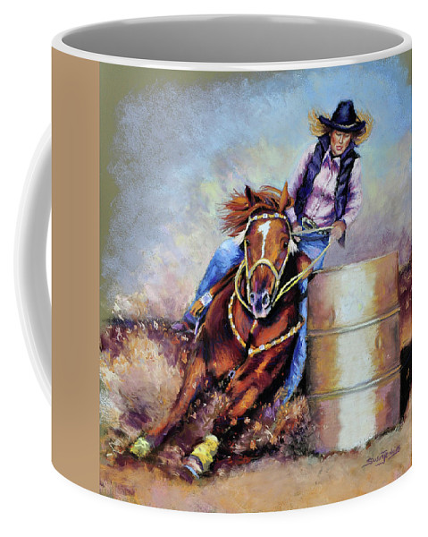 Cowgirl Coffee Mug featuring the pastel Barrel Rider by Susan Jenkins