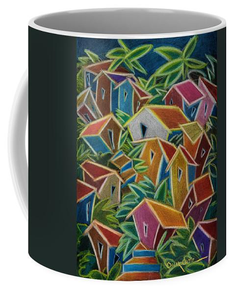 Landscape Coffee Mug featuring the painting Barrio Lindo by Oscar Ortiz