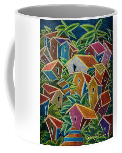 Landscape Coffee Mug featuring the painting Barrio Lindo by Oscar Ortiz