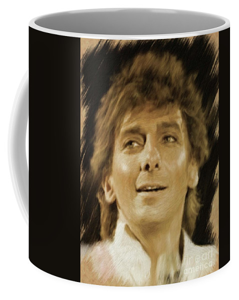 Barry Coffee Mug featuring the painting Barry Manilow, Music Legend by Mary Bassett