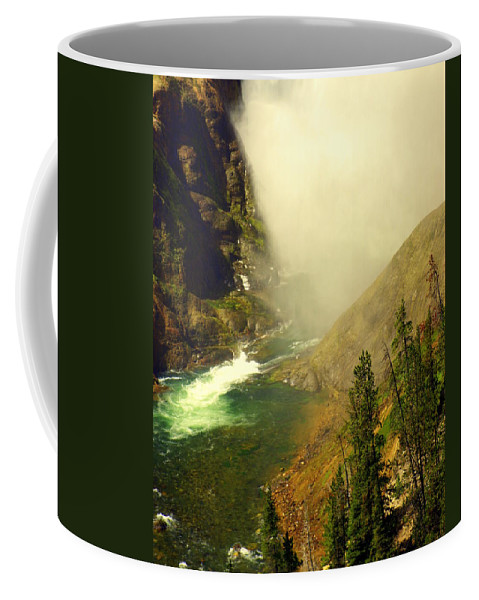 Yellowstone River Coffee Mug featuring the photograph Base Of The Falls 2 by Marty Koch
