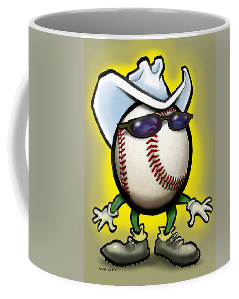 Baseball Coffee Mug featuring the greeting card Baseball Cowboy by Kevin Middleton
