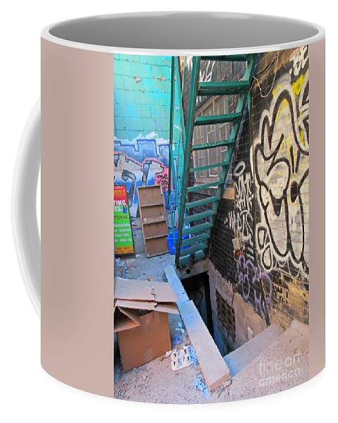Basement Apartment In Graffiti Alley Coffee Mug featuring the painting Basement Apartment In Graffiti Alley by John Malone