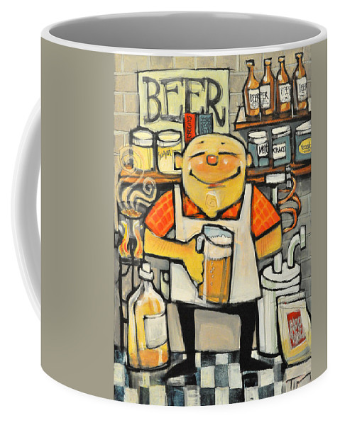 Beer. Brewing Coffee Mug featuring the painting Basement Brewer by Tim Nyberg