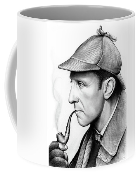 Hollywood Coffee Mug featuring the drawing Peter Cushing by Greg Joens