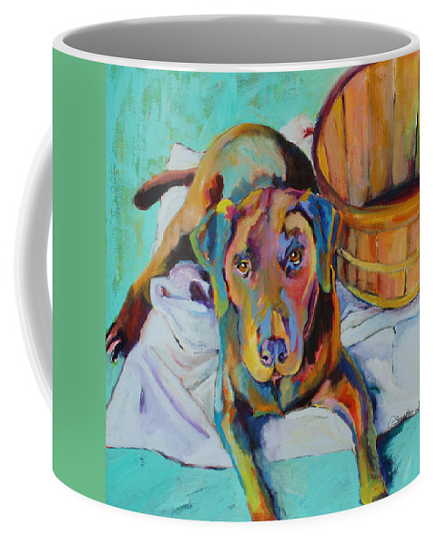 Chocolate Lab Coffee Mug featuring the painting Basket Retriever by Pat Saunders-White
