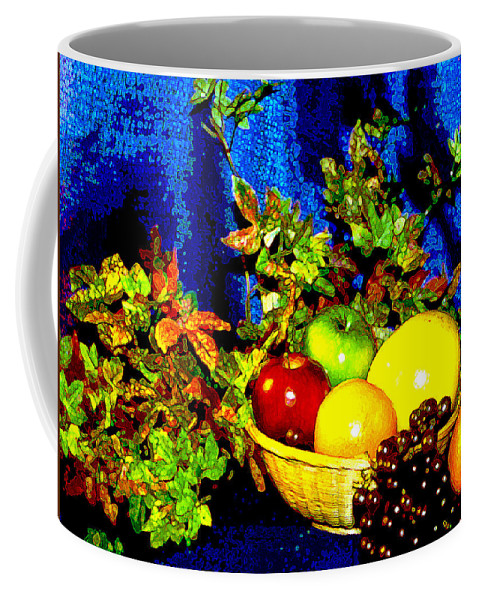 Fruit Coffee Mug featuring the photograph Basket With Fruit by Nancy Mueller