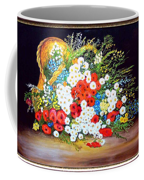 Summer Coffee Mug featuring the painting Basket With Summer Flowers by Helmut Rottler