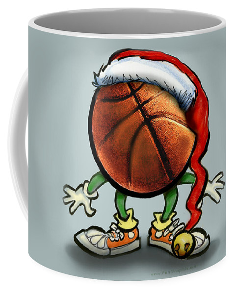 Basketball Coffee Mug featuring the greeting card Basketball Christmas by Kevin Middleton