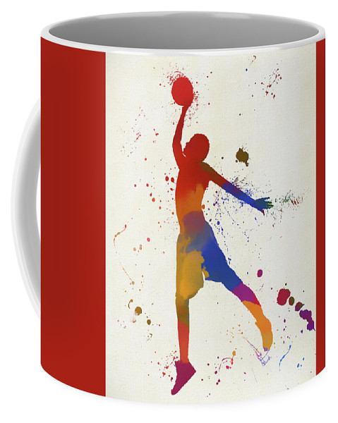Basketball Player Paint Splatter Coffee Mug featuring the painting Basketball Player Paint Splatter by Dan Sproul