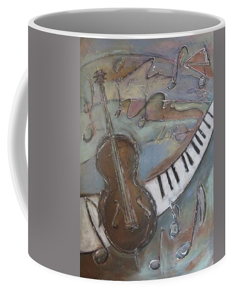 Painting Coffee Mug featuring the painting Bass And Keys by Anita Burgermeister