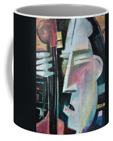 Jazz Coffee Mug featuring the painting Bass Face by Tim Nyberg