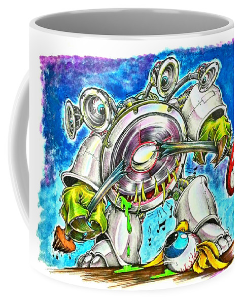 Camaro Coffee Mug featuring the painting Bass Monster by Hadi Madworx