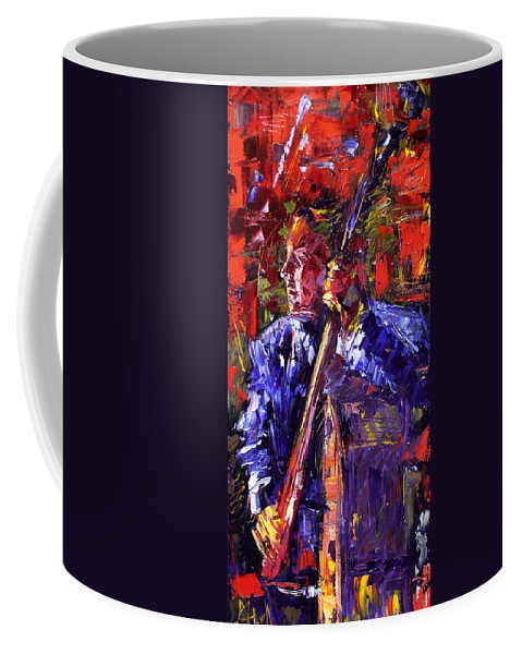 Jazz Coffee Mug featuring the painting Bass Walk-up by Debra Hurd