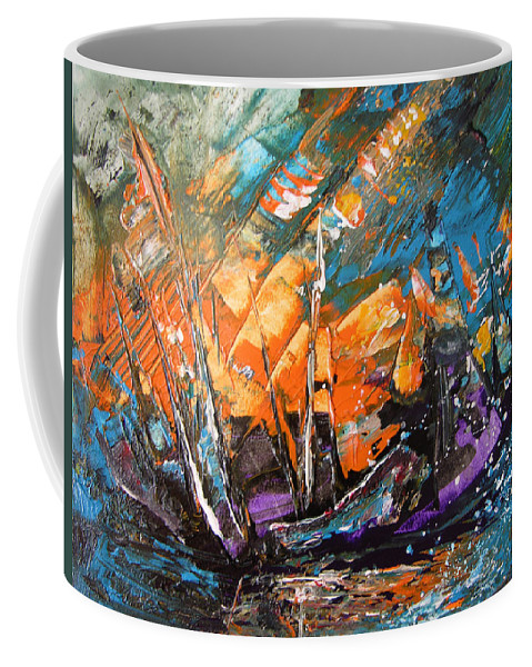 Acrylics Coffee Mug featuring the painting Bataille Navale by Miki De Goodaboom