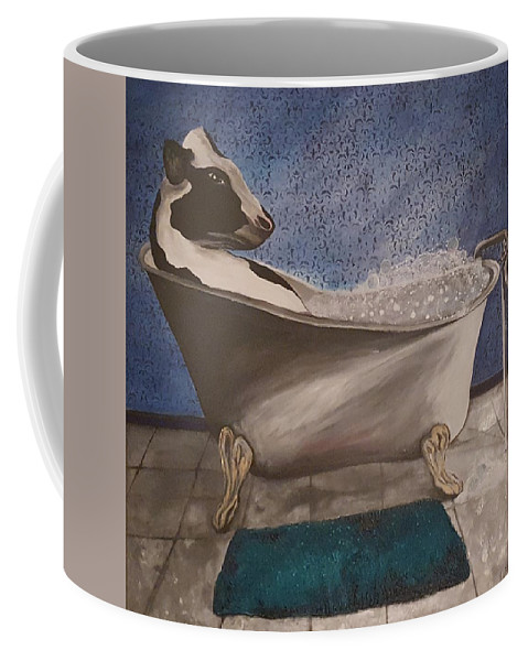 Cow Coffee Mug featuring the painting Bath Time by Ami Brown