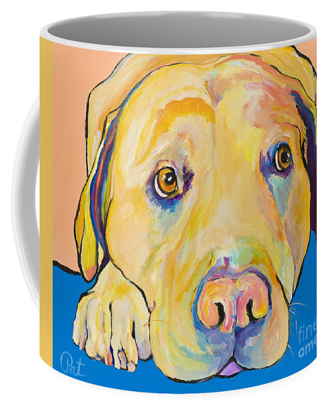 Dog Paintings Yellow Lab Puppy Colorful Animals Pets Coffee Mug featuring the painting Bath Time by Pat Saunders-White