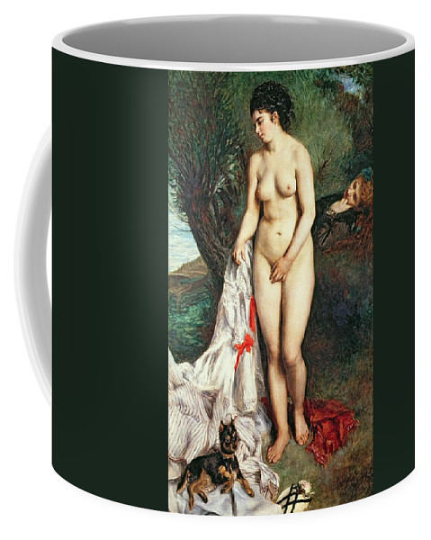 Bather Coffee Mug featuring the painting Bather With A Griffon Dog by Pierrre Auguste Renoir