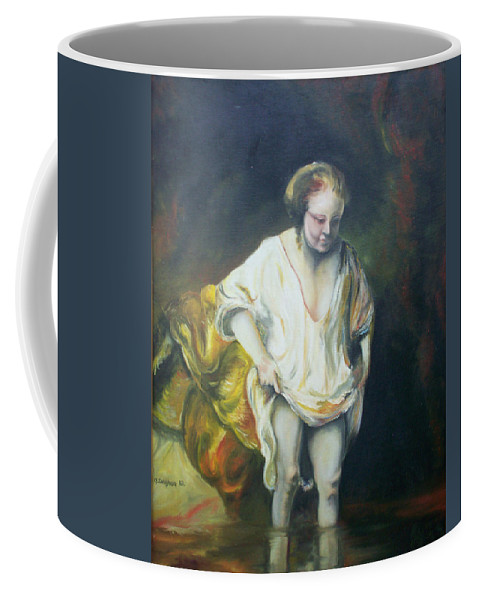 Rembrandt Coffee Mug featuring the painting Bathing Woman by Gary Hogben