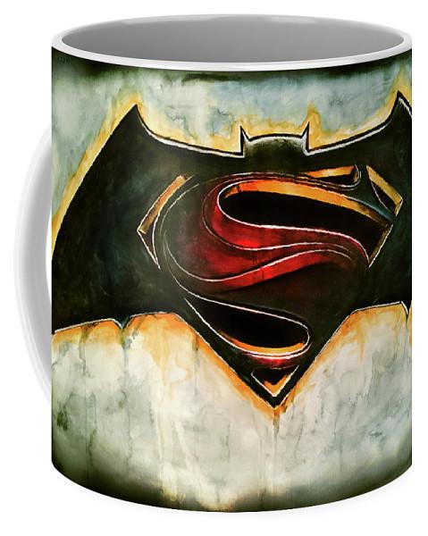 Superman Coffee Mug featuring the painting Batman Vs Superman by Jason Armstrong