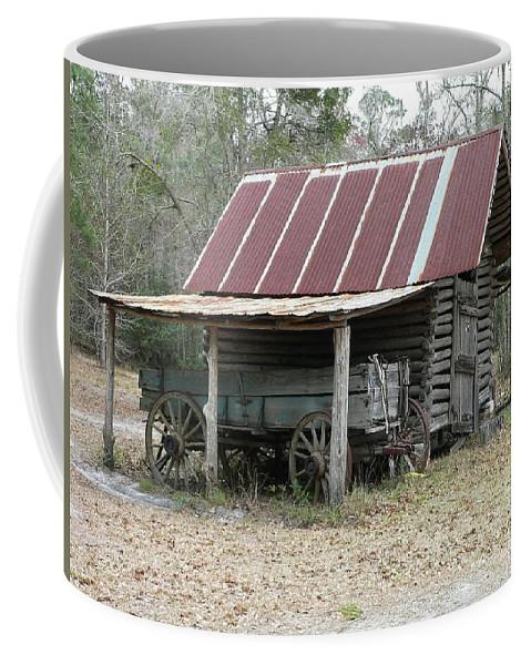 Barn Coffee Mug featuring the photograph Battered Barn And Weathered Wagon by Al Powell Photography USA
