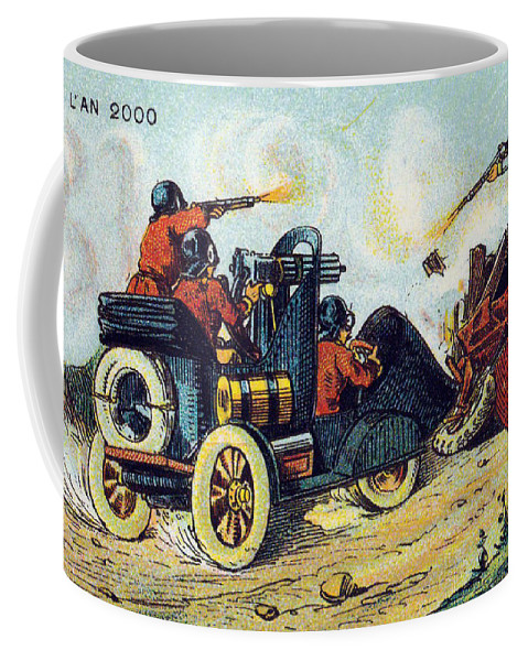 Science Coffee Mug featuring the photograph Battle Cars, 1900s French Postcard by Science Source