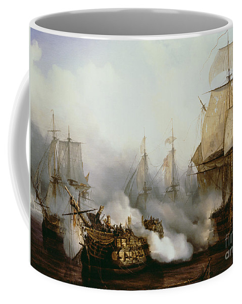 Battle Of Trafalgar By Louis Philippe Crepin Coffee Mug featuring the painting Battle of Trafalgar by Louis Philippe Crepin