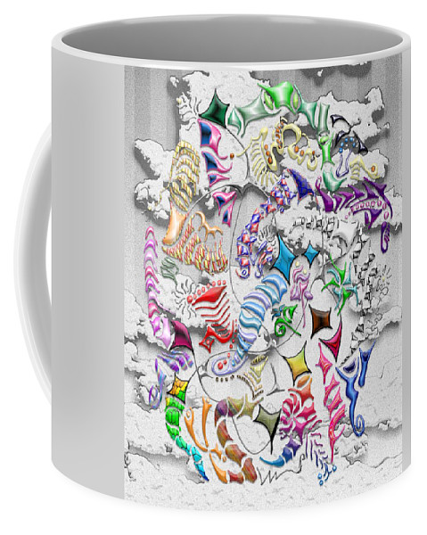 Abstract Coffee Mug featuring the digital art Battling Kites -- Gray by Mark Sellers