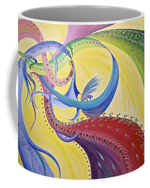 Ribbons Coffee Mug featuring the painting Baubles N Bows by Nancy Cupp