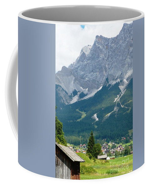 Mountains Coffee Mug featuring the photograph Bavarian Alps With Shed by Carol Groenen
