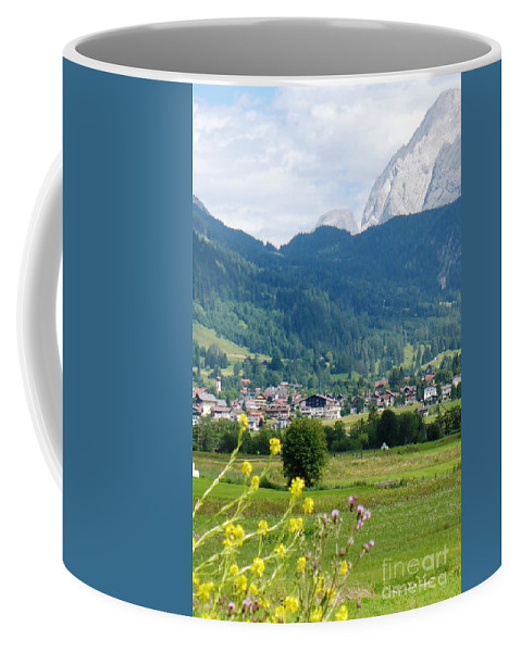Bavaria Coffee Mug featuring the photograph Bavarian Alps With Village And Flowers by Carol Groenen