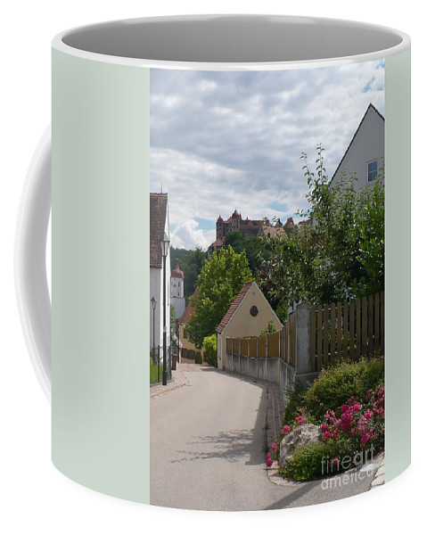 Castle Coffee Mug featuring the photograph Bavarian Village With Castle View by Carol Groenen