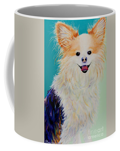 Animal Coffee Mug featuring the painting Baxter by Pat Saunders-White