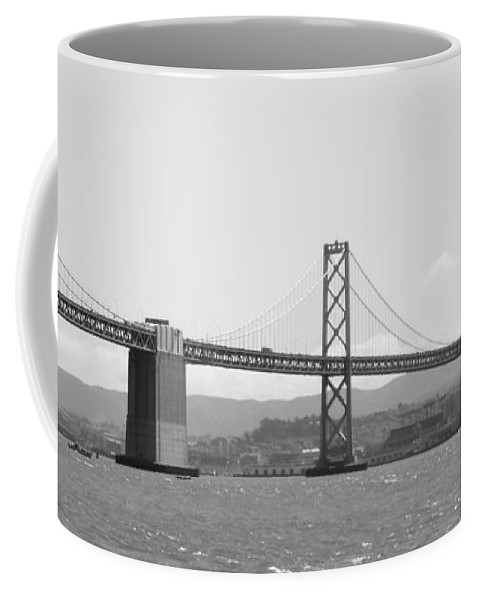 San Francisco Coffee Mug featuring the photograph Bay Bridge In Black And White by Carol Groenen