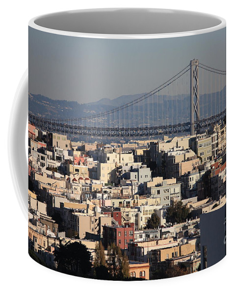 San Francisco Coffee Mug featuring the photograph Bay Bridge With Houses And Hills by Carol Groenen