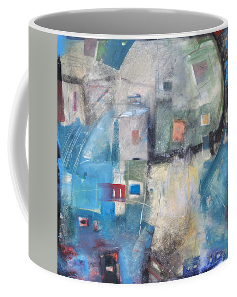 Abstract Coffee Mug featuring the painting Bayer Works Wonders by Tim Nyberg