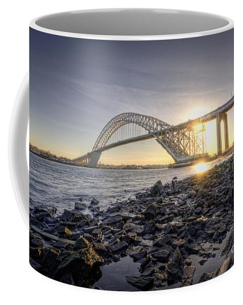 Sunset Coffee Mug featuring the photograph Bayonne Bridge Sunset by Michael Ver Sprill