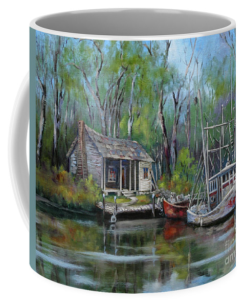 Swamp Art Coffee Mug featuring the painting Bayou Shrimper by Dianne Parks