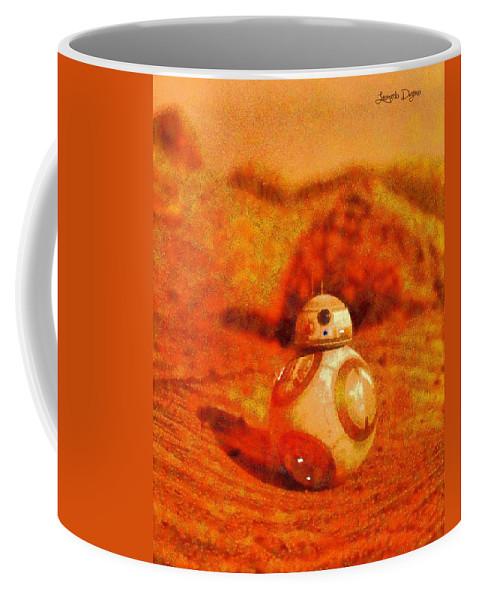 Toy Coffee Mug featuring the digital art Bb-8 In The Desert - Da by Leonardo Digenio