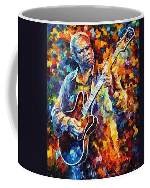 Afremov Coffee Mug featuring the painting Bb King - Long Nights by Leonid Afremov