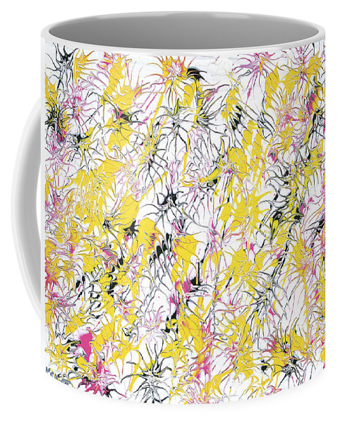 Keith Elliott Coffee Mug featuring the painting Bumble Bees Against The Windshield - V1cm89 by Keith Elliott